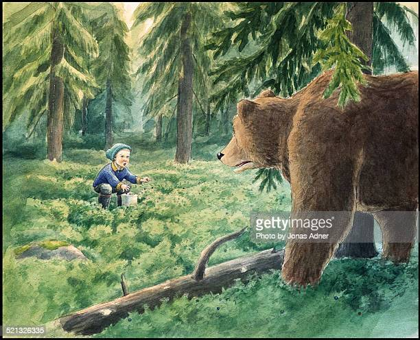 The boy and the brown bear