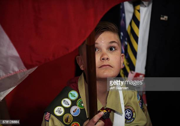 The Boy Scouts of America prepare for the opening of the third day of the Republican National Convention on July 20 2016 at the Quicken Loans Arena...
