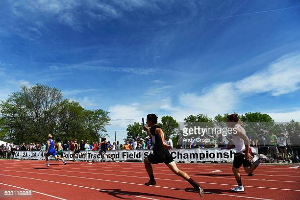 The boys 2A 400 meter 4x100 relay preliminary race at the Colorado State High School Track and Field Championships at Jeffco Stadium May 20 2016