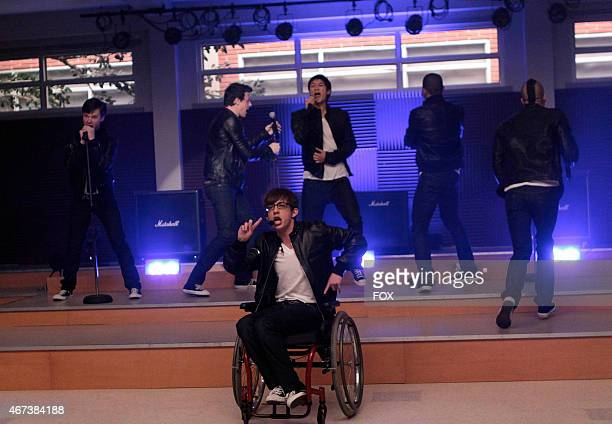 """The boys in the Glee Club perform against the girls in the GLEE episode """"Vitamin D"""" airing Wednesday, Oct. 7 on FOX. Pictured L-R: Chris Colfer, Cory..."""