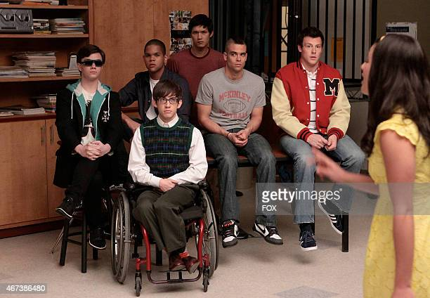 """The boys in the Glee club watch the girls perform a mashup in the GLEE episode """"Vitamin D"""" airing Wednesday, Oct. 7 on FOX. Pictured L-R: Chris..."""