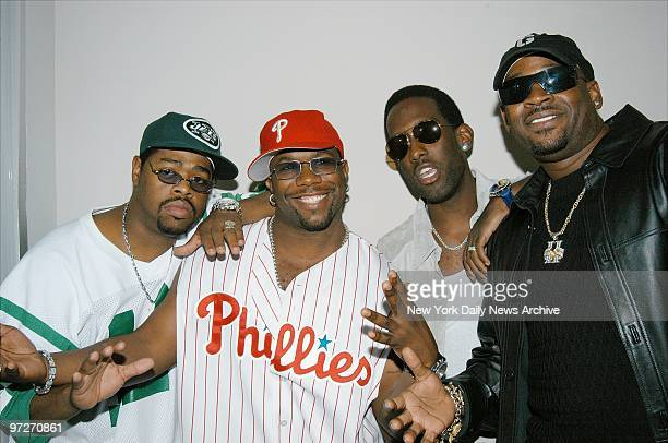 The boys of Boyz II Men Nathan Morris Wanya Morris Shawn Stockman and Michael McCary are on hand for a party to celebrate their new album 'Full...