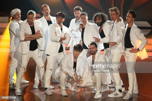 The boys perform on stage during girls vs boys duell during the 4th show of the 11th season of the television competition 'Let's Dance' on April 13...