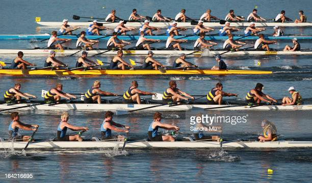The boys U18 eight leave the start pontoon in the first repecharge during day four of the Maadi Cup at Lake Karapiro on March 21 2013 in Cambridge...