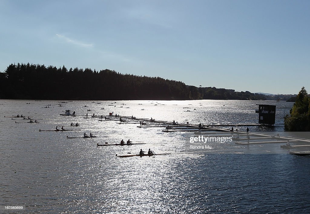 The Boys U18 pair leave the start pontoon during the New Zealand Junior Rowing Regatta on February 23, 2013 in Auckland, New Zealand.