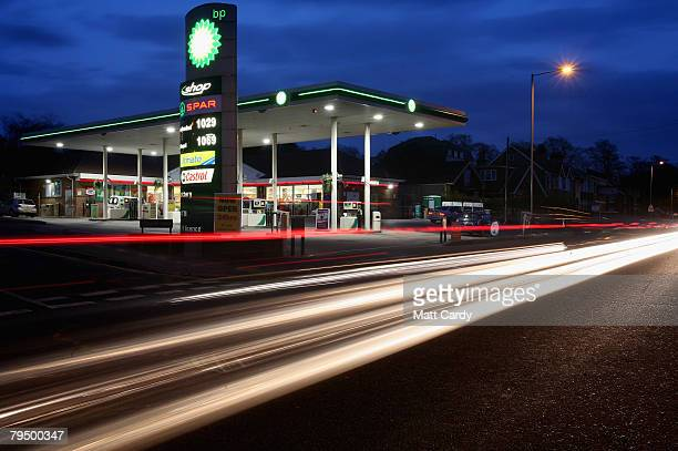 The BP logo is illuminated at a petrol station on February 3 2008 in Salisbury United Kingdom Results for the whole of 2007 due tomorrow are...
