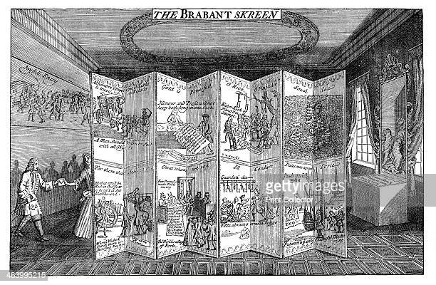 'The Brabant Skreen' 1721 A satire on the South Sea company The Duchess of Kendal gives money to Robert Knight to enable him to escape Illustration...