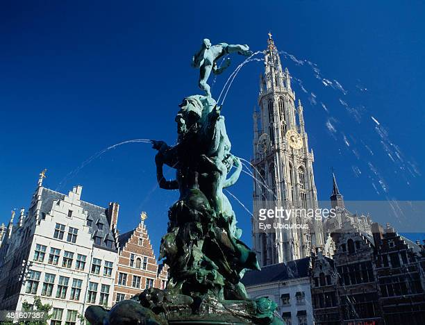 The Brabo Fountain tower of Our Lady's Cathedral and Main Square Grote Markt facade