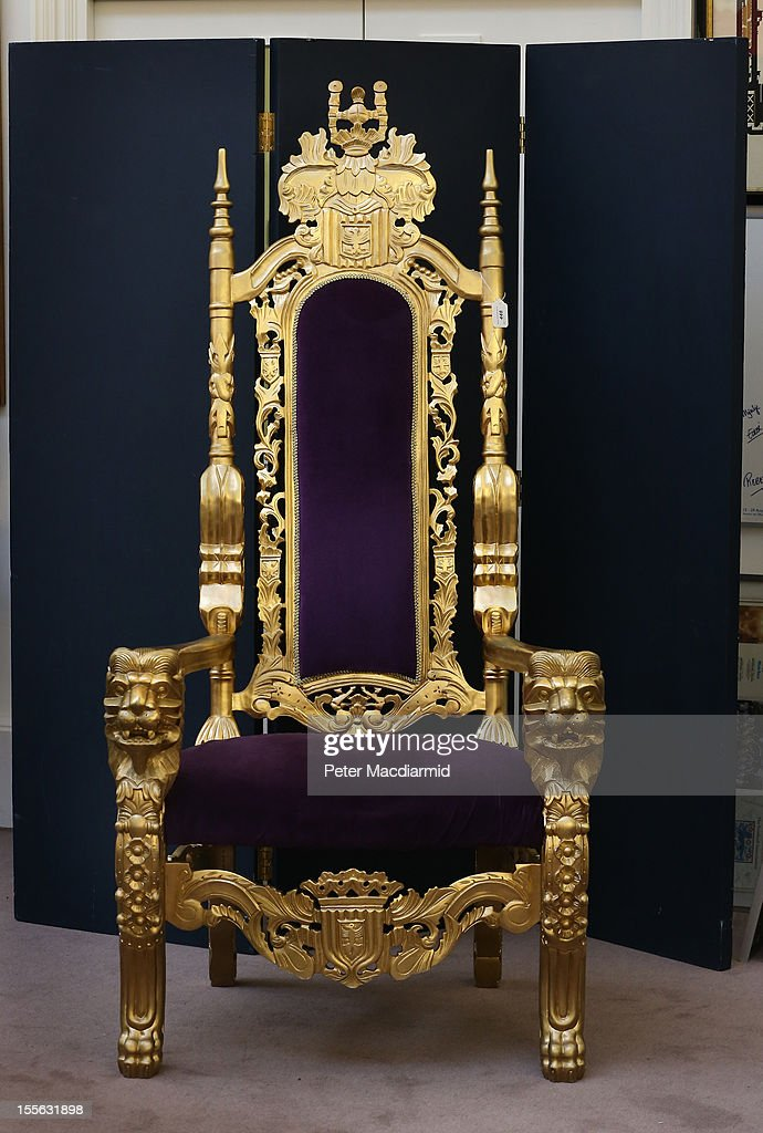 The Bradley Wiggins London 2012 Olympics golden throne is displayed at Sotheby's on November 6, 2012 in London, England. Graham Budd auctioneers are holding a two day sale of Sporting Memorabilia at Sotheby's in London on 5-6th November 2012.
