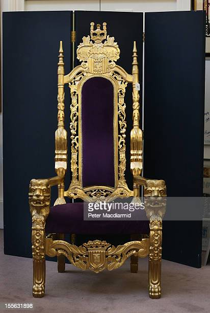The Bradley Wiggins London 2012 Olympics golden throne is displayed at Sotheby's on November 6 2012 in London England Graham Budd auctioneers are...
