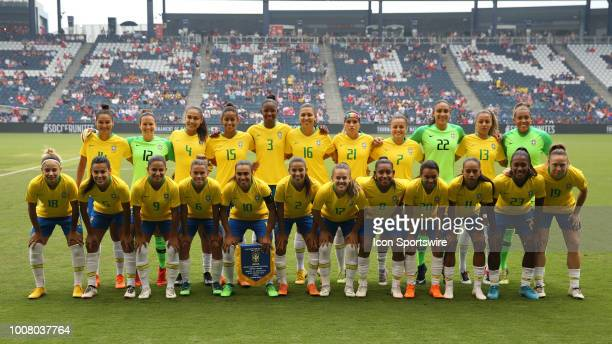 The Brail women's national soccer team before a match between Brazil and Australia in the 2018 Tournament of Nations on July 26 2018 at Children's...
