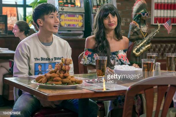 PLACE The Brainy Bunch Episode 303 Pictured Manny Jacinto as Jason Mendoza Jameela Jamil as Tahani