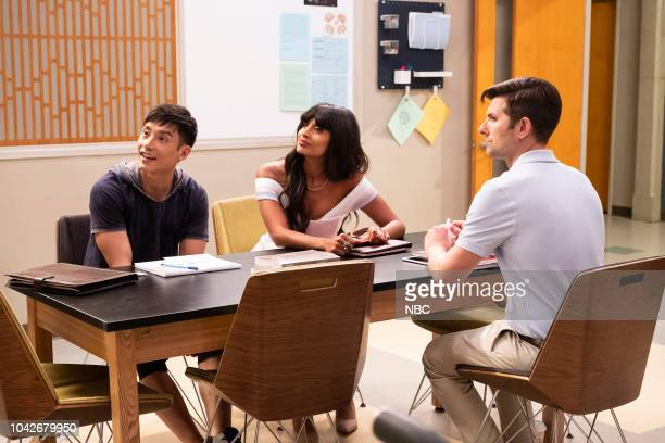 PLACE 'The Brainy Bunch' Episode 303 Pictured Manny Jacinto as Jason Mendoza Jameela Jamil as Tahani Adam Scott as Trevor