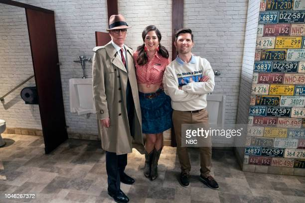 "The Brainy Bunch"" Episode 303 -- Pictured: Ted Danson as Michael, D'Arcy Carden as Janet, Adam Scott as Trevor --"