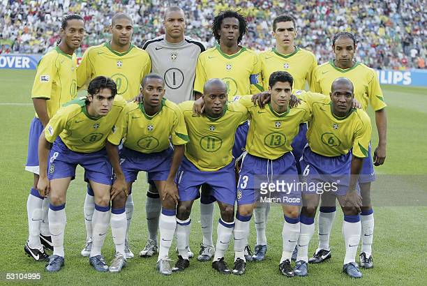 The Bralian team lineup before the match between Mexico and Brazil in the FIFA Confederations Cup 2005 in the AWD Arena on June 19 2005 in Hanover...