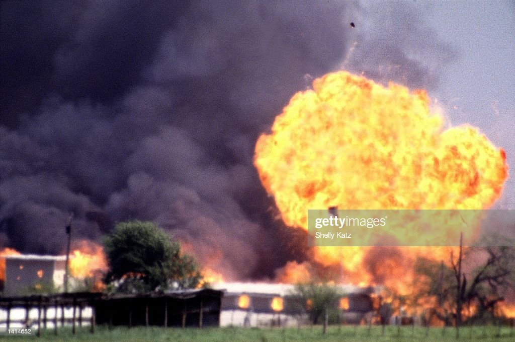 The Branch Davidian compound explodes in a burst of flames April 19, 1993, ending the standoff between cult leader David Koresh and his followers and the FBI at this site near Waco, TX. April 19, 2000 is the 7 year anniversary of the tragedy.