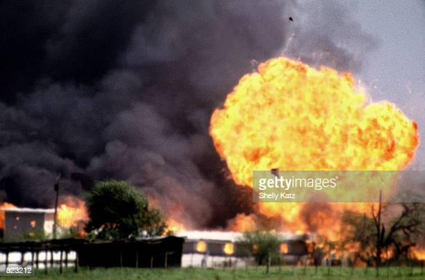 The Branch Davidian compound in Waco, Texas, is shown engulfed by flames in this April 20 file photo. Retreating from its past denials, the FBI is...