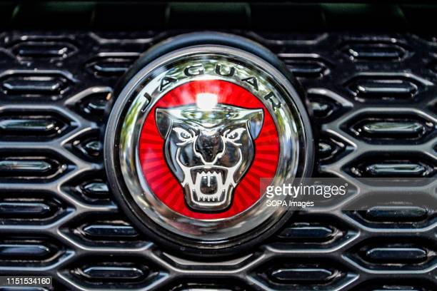 The brand logo of the Jaguar car manufacturer in Turin.