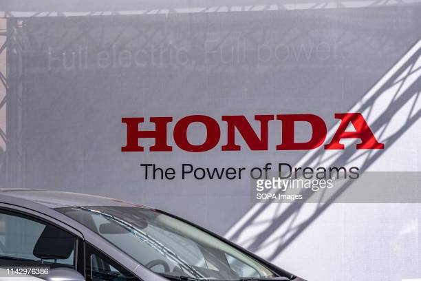 The brand logo of the manufacturer Honda seen during the event. The Automobile Barcelona trade fair celebrates 100 years. The event takes place from...