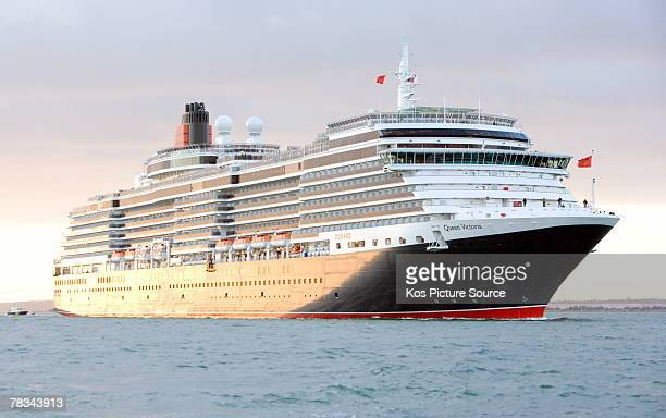 The brand new luxury cruise liner Queen Victoria owned by Cunard sails up the Solent on her way to the Port of Southampton on December 7 2007 in...