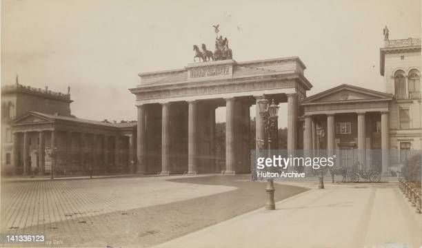 The Brandenburg Gate in Berlin Germany circa 1890