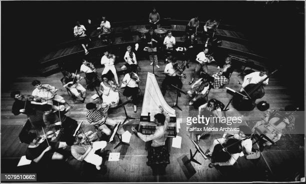 The Brandenburg Orchestra Rehearse for their Wednesday night performance.Heather Mitchell in Her Role as Orator..Paul Dyer as Harpsichordist and...