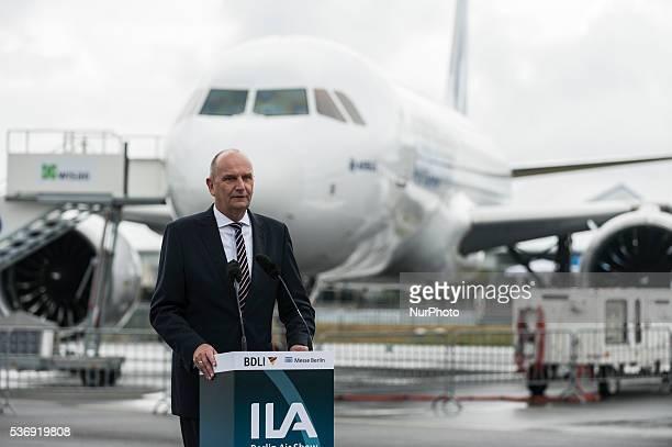 The Brandenburg Prime Minister Dietmar Woidke gives a speech at the International Aerospace Exhibition in Schoenefeld near Berlin on June 1 2016 The...