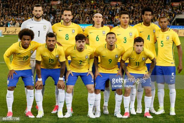 The Brasil team pose for a photo before the Brasil Global Tour match between Brazil and Argentina at Melbourne Cricket Ground on June 9 2017 in...