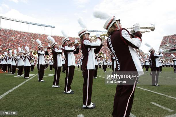 The brass section of the Marching Virginians the marching band performs during the game between the Virginia Tech University Hokies and the College...