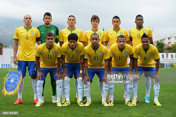 The Brazil first eleven pose for a team photo during the Toulon Tournament Group B match between Brazil and South Korea at the Leo Legrange Stadium...