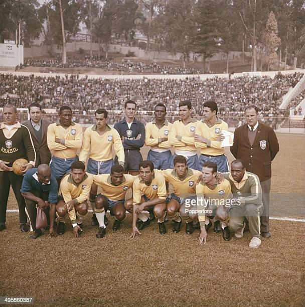 The Brazil International football team including Djalma Santos Garrincha Vava Zozimo Gilmar Zito and Mauro line up before a game in 1962