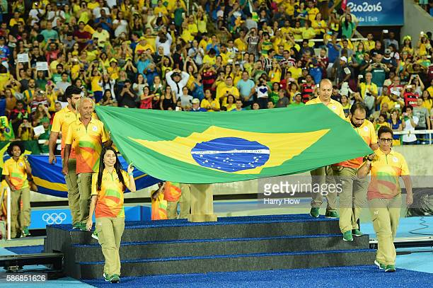 The Brazil national flag is seen prior to the Women's Group E first round match between Brazil and Sweden on Day 1 of the Rio 2016 Olympic Games at...
