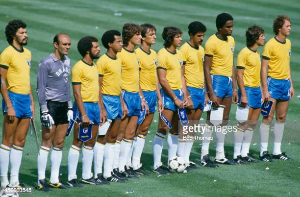 The Brazil national football team line at the World Cup final second round group stage match game against Italy at the Estadio Sarria Barcelona Spain...