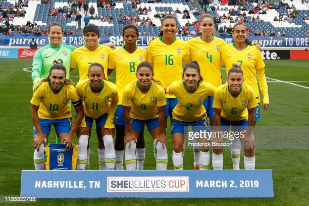 The Brazil national team poses for a team photo prior to the 2019 SheBelieves Cup match between Brazil and Japan at Nissan Stadium on March 2 2019 in...