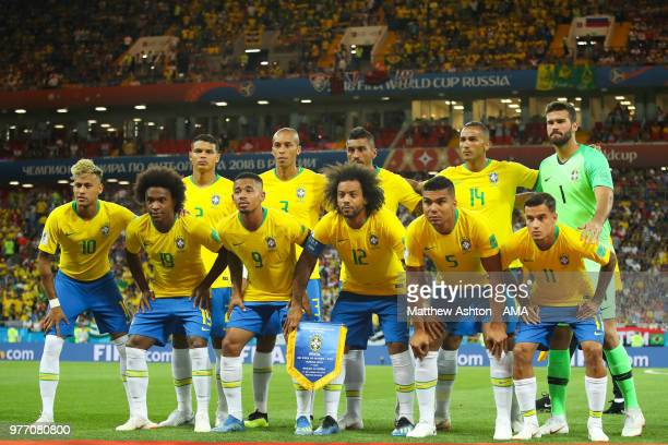 The Brazil players line up for a team photo prior to the 2018 FIFA World Cup Russia group E match between Brazil and Switzerland at Rostov Arena on...