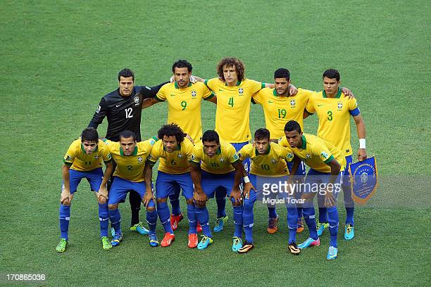 The Brazil players line up for a team photo prior to the FIFA Confederations Cup Brazil 2013 Group A match between Brazil and Mexico at Castelao on...