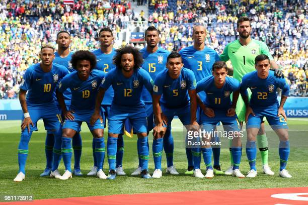 The Brazil players pose for a team photo prior to the 2018 FIFA World Cup Russia group E match between Brazil and Costa Rica at Saint Petersburg...