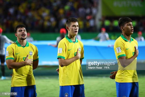 The Brazil side line up for the national anthems during the FIFA U-17 World Cup Quarter Final match between Italy and Brazil at the Estádio Olímpico...