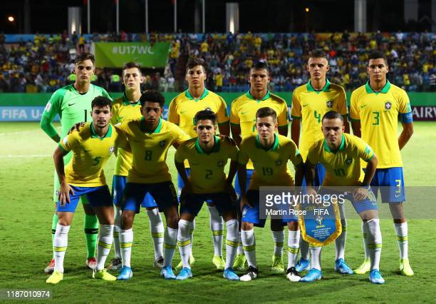 The Brazil side pose for a team picture during the FIFA U17 World Cup Quarter Final match between Italy and Brazil at the Estádio Olímpico Goiania on...