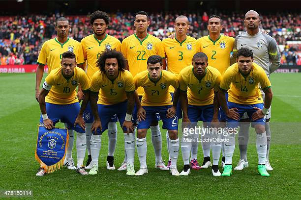 The Brazil starting lineup Fernandinho Luiz Adriano Souza Miranda Danilo Goalkeeper Jefferson Neymar Marcelo Philippe Coutino Douglas Costa and...
