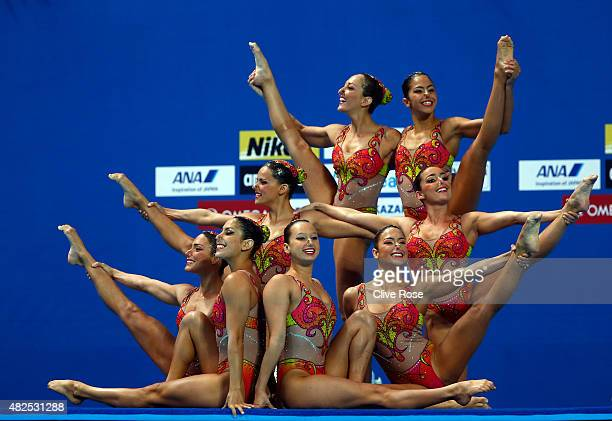 The Brazil team compete in the Women's Team Free Synchronised Swimming Final on day seven of the 16th FINA World Championships at the Kazan Arena on...