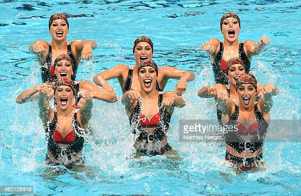 The Brazil team competes in the Women's Team Technical Synchronised Swimming Final on day three of the 16th FINA World Championships at the Kazan...