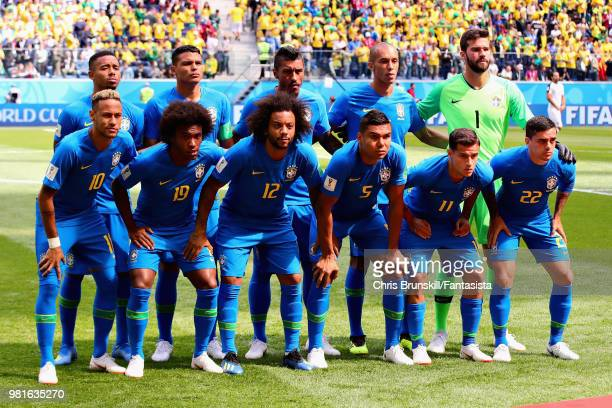 The Brazil team line up before the 2018 FIFA World Cup Russia group E match between Brazil and Costa Rica at Saint Petersburg Stadium on June 22 2018...