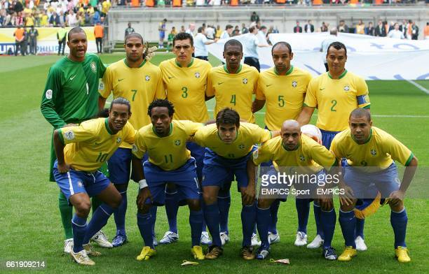 The Brazil team line up before the match