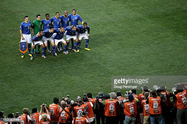 The Brazil team line up for a group photo prior to the 2010 FIFA World Cup South Africa Quarter Final match between Netherlands and Brazil at Nelson...