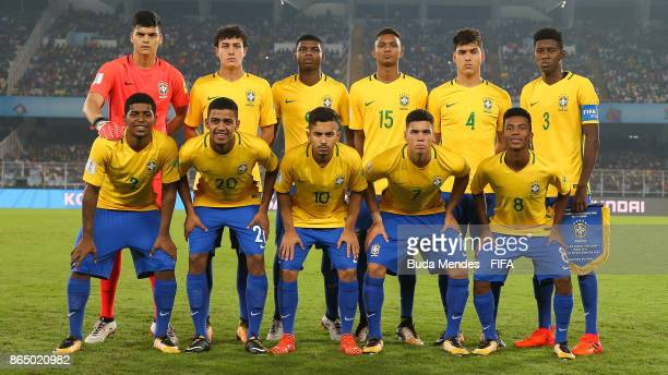 The Brazil team line up for a picture during the FIFA U17 World Cup India 2017 Quarter Final match between Germany and Brazil at Vivekananda Yuba...