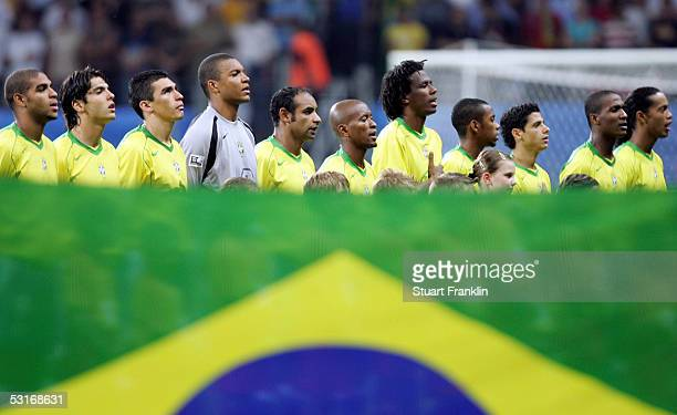 The Brazil team line up prior to the FIFA 2005 Confederations Cup Final between Brazil and Argentina at the Waldstadion on June 29 in Frankfurt...
