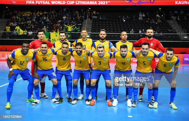 The Brazil team line up prior to the FIFA Futsal World Cup 2021 Round of 16 match between Brazil and Japan at Kaunas Arena on September 23, 2021 in...