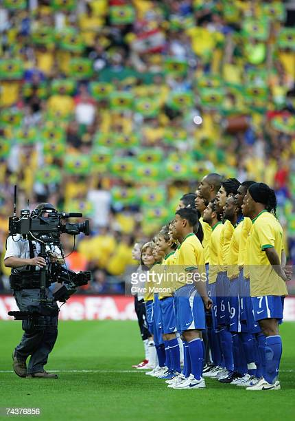 The Brazil team line up prior to the International Friendly match between England and Brazil at Wembley Stadium on June 1 2007 in London England