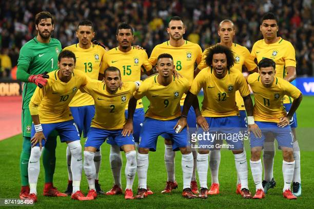 The Brazil team line up prior to the international friendly match between England and Brazil at Wembley Stadium on November 14 2017 in London England